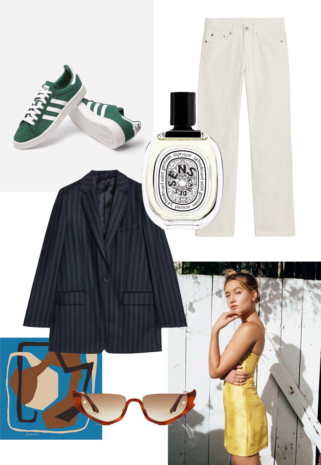 Kollasje med klær og sko